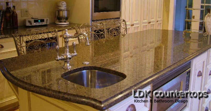 Highland Park Granite Countertops - Kitchen Island with Ogee edge