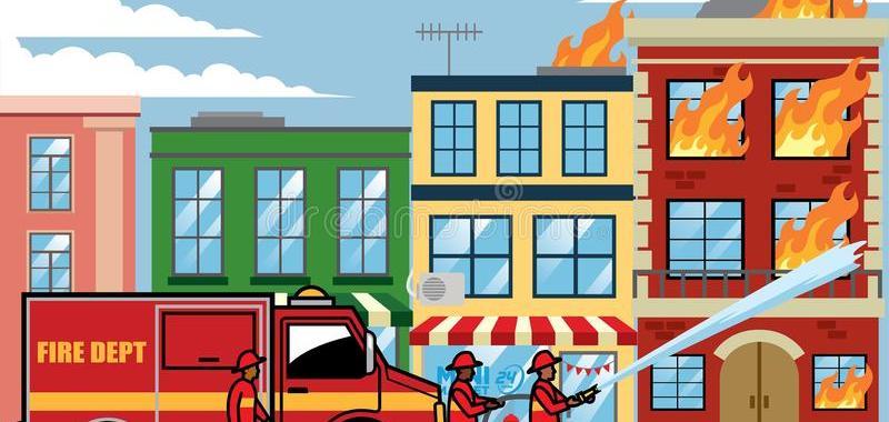 ilustração de prédio incêndio bombeiros