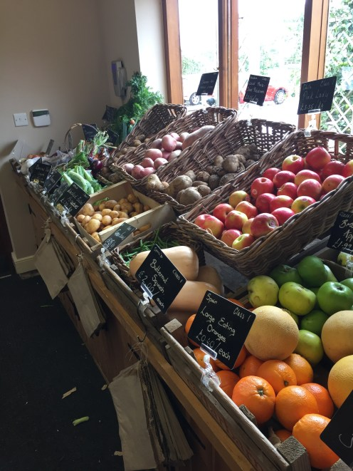 Fresh fruit and vegetables on sale