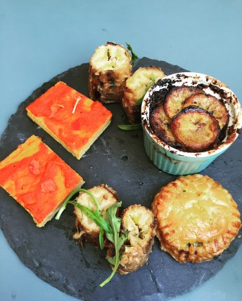 Lagos Angus Pie / Lagos Portobello Pie, Akara Tarts, Roasted Plantain