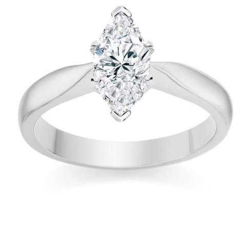 Marquise Cut 1 Carat F IF 18k  White Gold Diamond Engagement Ring