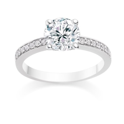 Round Cut 0.59 Carat Side Stones Engagement Ring in 18k White Gold
