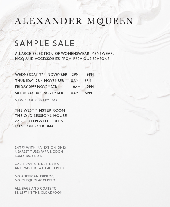 ALEXANDER MCQUEEN SAMPLE SALE