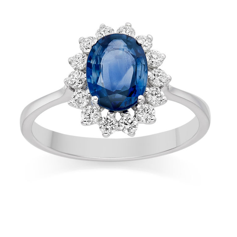 2 - Diamond and blue sapphire ring in 18 carat white gold