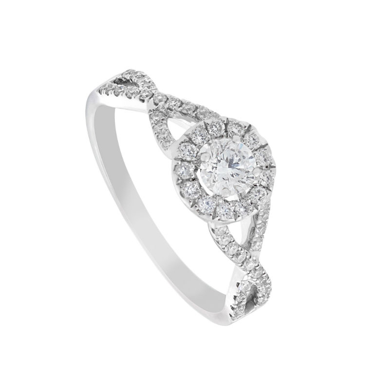 3 - 18 carat white gold crossover ring with 0.61 carat diamond