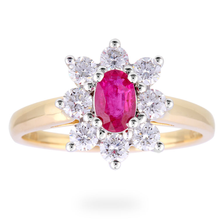 4 - Ruby and diamond cluster ring in 18 carat yellow gold