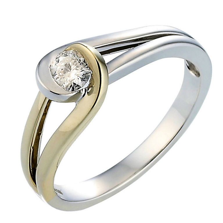 5 - 18 carat, two colour cold, 0.50 carat diamond ring