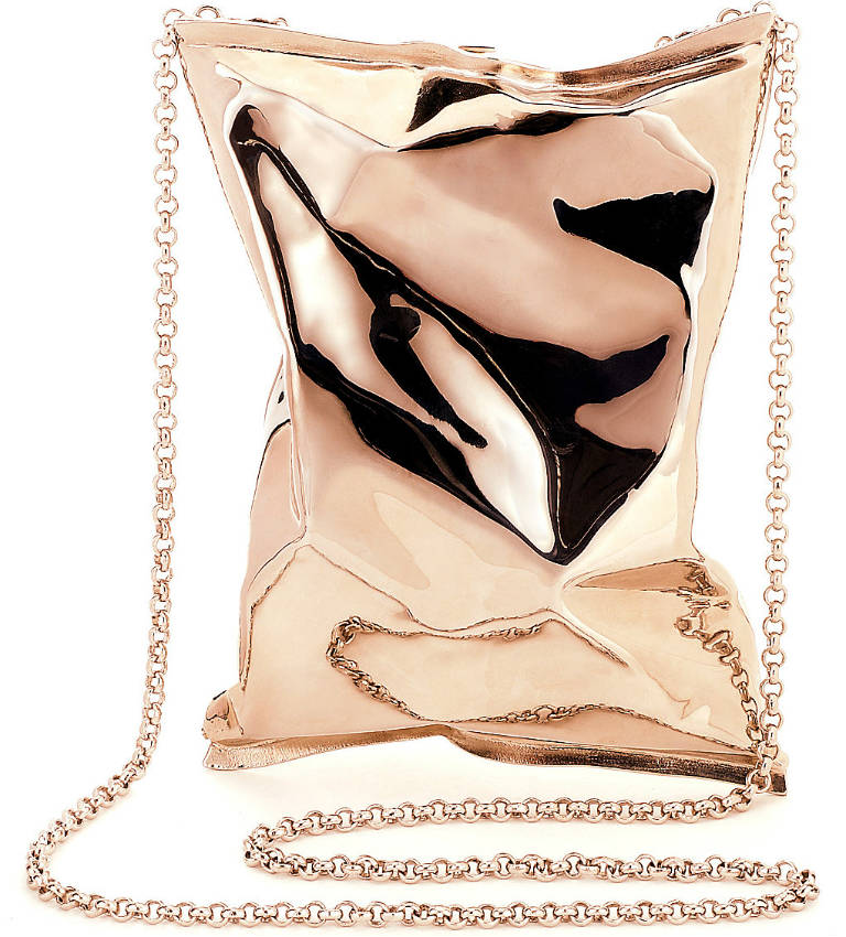 Crisp packet 18ct rose-gold clutch