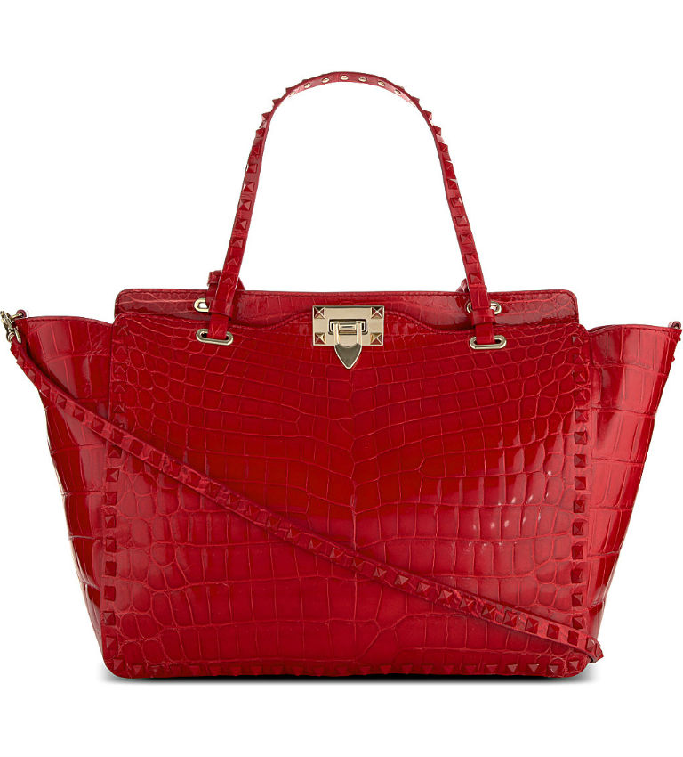 Rockstud Medium Crocodile Leather Tote