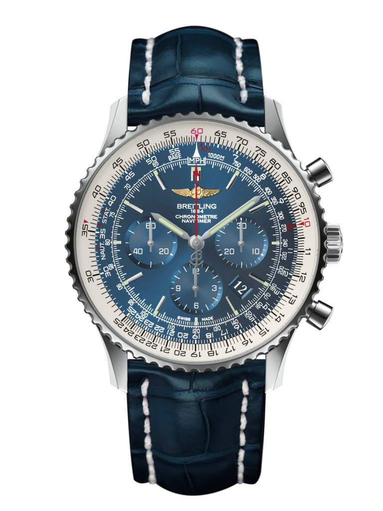 Breitling Navitimer men's chronograph blue leather strap watch