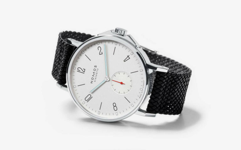 NOMOS Glashütte Ahoi Datum white dial black strap watch
