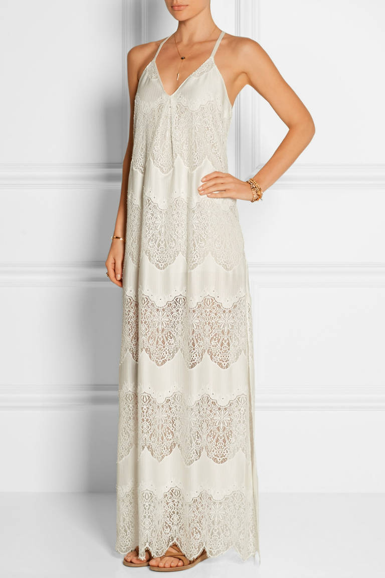 ALICE + OLIVIA Vandy paneled crinkled-satin and lace maxi dress