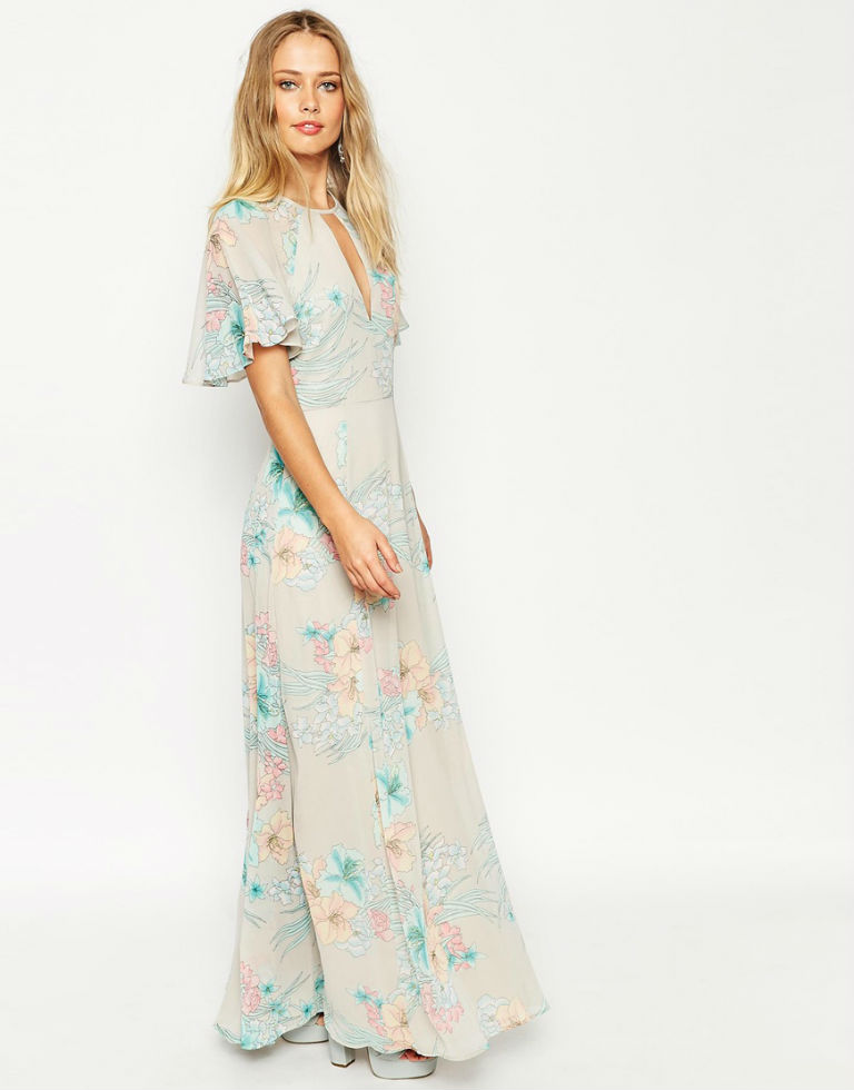 ASOS 70s Faded Floral Flutter Sleeve Maxi Dress