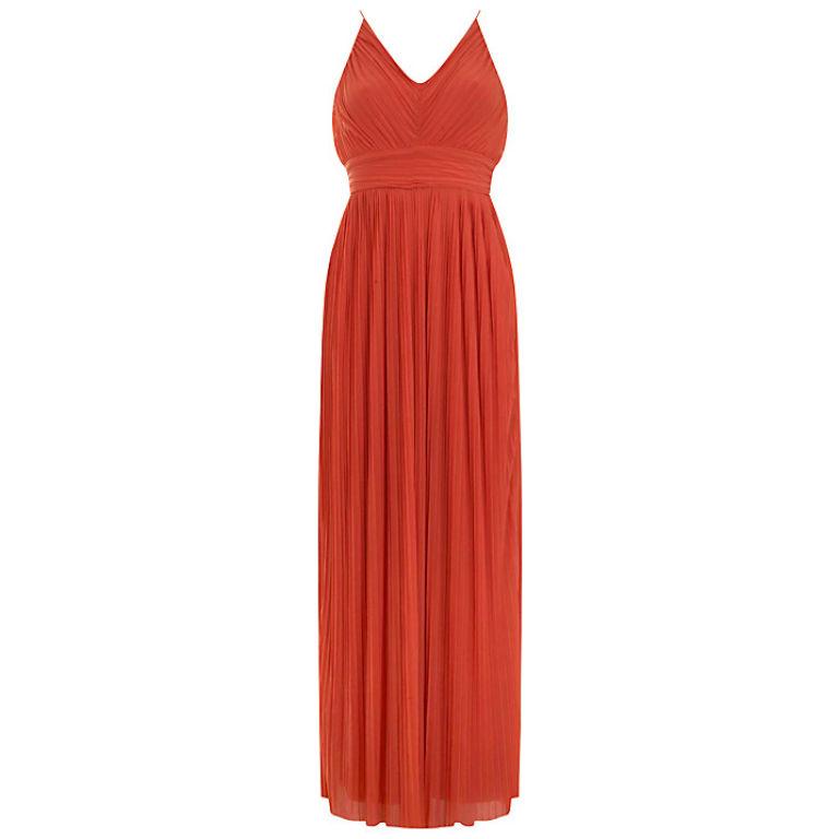 Miss Selfridge Pleated Dress in Orange