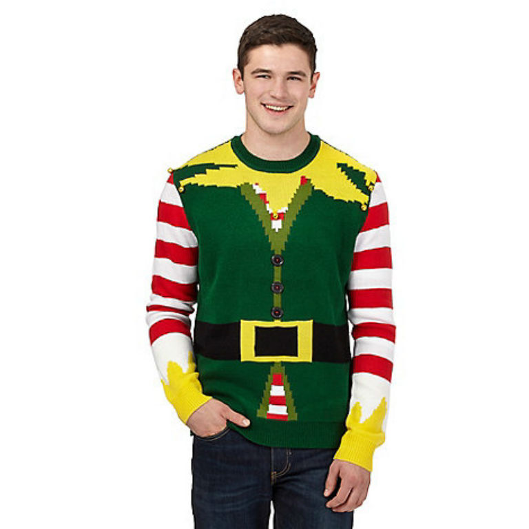 Red Herring Green elf musical Christmas jumper