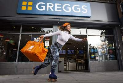 Just Eat and Greggs trial roller-skating delivery service in London 17