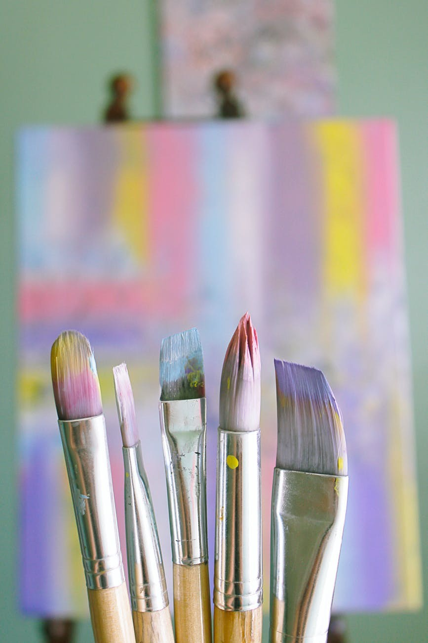 Paint brush and abstract art