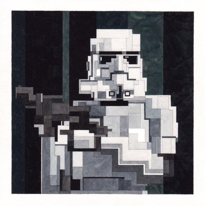 # 這些水彩畫作要瞇著眼睛看: Adam Lister 汲取藝術作及流行文化的8位元水彩作品 13