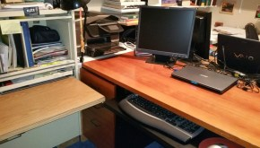 Image of my desk and work surface - clear and without clutter - kept that way one day at a time.