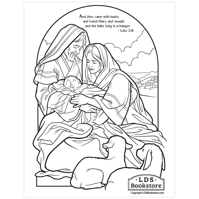 The Holy Family Nativity Coloring Page - Printable  Christmas