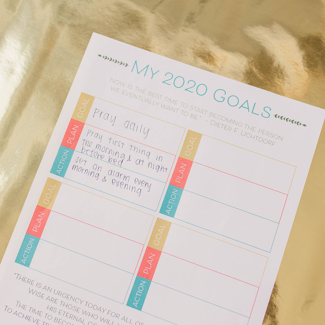 Lds Goal Setting Worksheet In Lds Handouts Amp Helps On