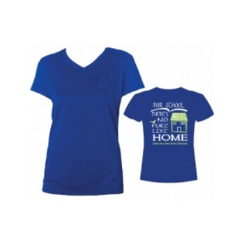 LDSHE Blue Ladies-Cut T-shirt: Graphic on Back