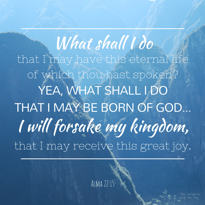 …the king said: What shall I do that I may have this eternal life of which thou hast spoken? Yea, what shall I do that I may be born of God, having this wicked spirit rooted out of my breast, and receive his Spirit, that I may be filled with joy, that I may not be cast off at the last day? Behold, said he, I will give up all that I possess, yea, I will forsake my kingdom, that I may receive this great joy. Alma 22:15