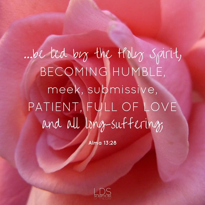 ...be led by the Holy Spirit, becoming humble, meek, submissive, patient, full of love and all long-suffering; Alma 13:28