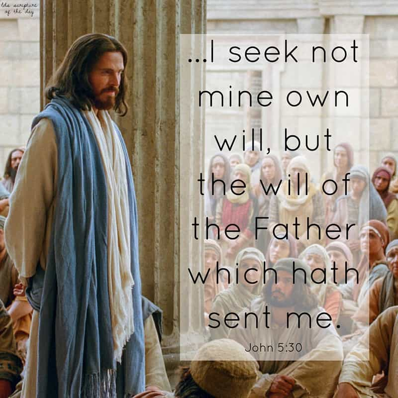 ...I seek not mine own will, but the will of the Father which hath sent me. John 5:30