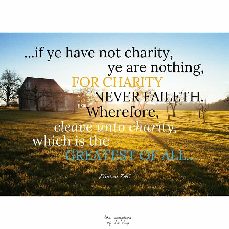 Wherefore, my beloved brethren, if ye have not charity, ye are nothing, for charity never faileth. Wherefore, cleave unto charity, which is the greatest of all... Moroni 7:46