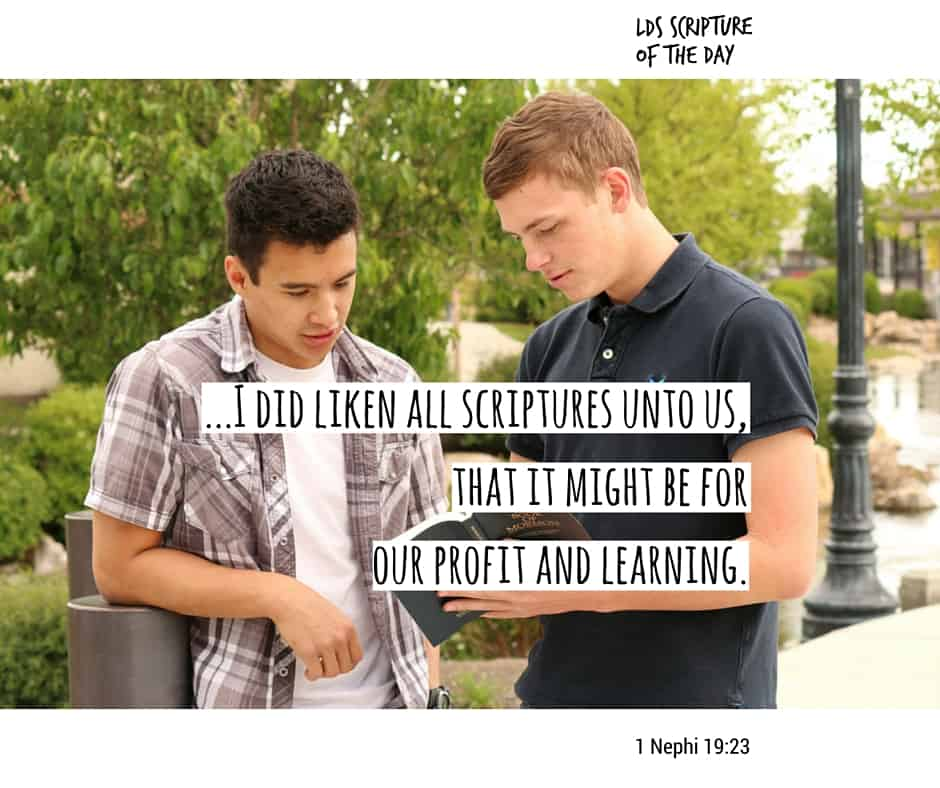...that I might more fully persuade them to believe in the Lord their Redeemer I did read unto them that which was written by the prophet Isaiah; for I did liken all scriptures unto us, that it might be for our profit and learning. 1 Nephi 19:23