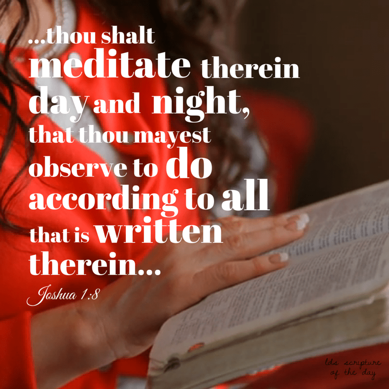 This book of the law shall not depart out of thy mouth; but thou shalt meditate therein day and night, that thou mayest observe to do according to all that is written therein: for then thou shalt make thy way prosperous, and then thou shalt have good success. Joshua 1:8