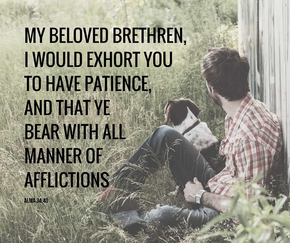 ...my beloved brethren, I would exhort you to have patience, and that ye bear with all manner of afflictions;... Alma 34:40