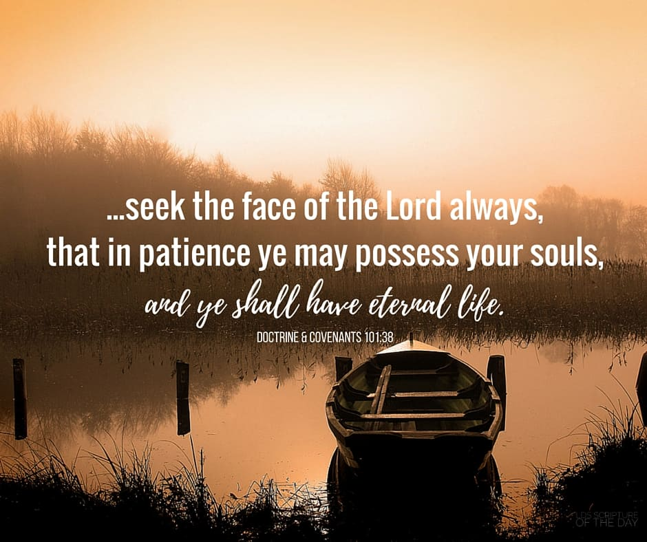...seek the face of the Lord always, that in patience ye may possess your souls, and ye shall have eternal life. Doctrine & Covenants 101:38