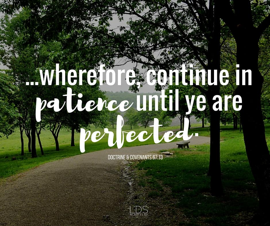 ...wherefore, continue in patience until ye are perfected. Doctrine & Covenants 67:13