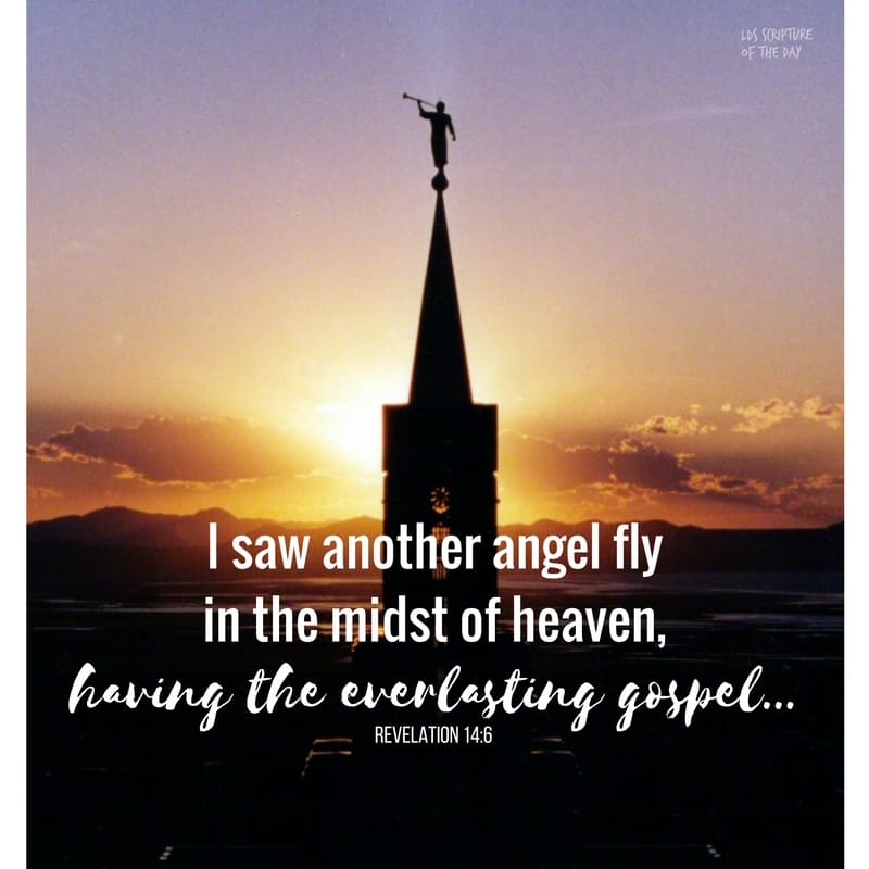 And I saw another angel fly in the midst of heaven, having the everlasting gospel to preach unto them that dwell on the earth, and to every nation, and kindred, and tongue, and people, Revelation 14:6
