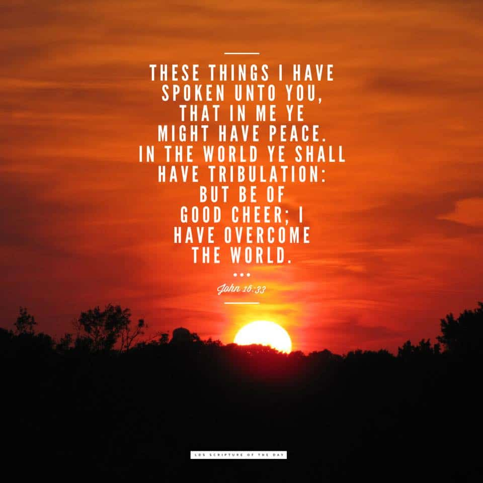 These things I have spoken unto you, that in me ye might have peace. In the world ye shall have tribulation: but be of good cheer; I have overcome the world. John 16:33
