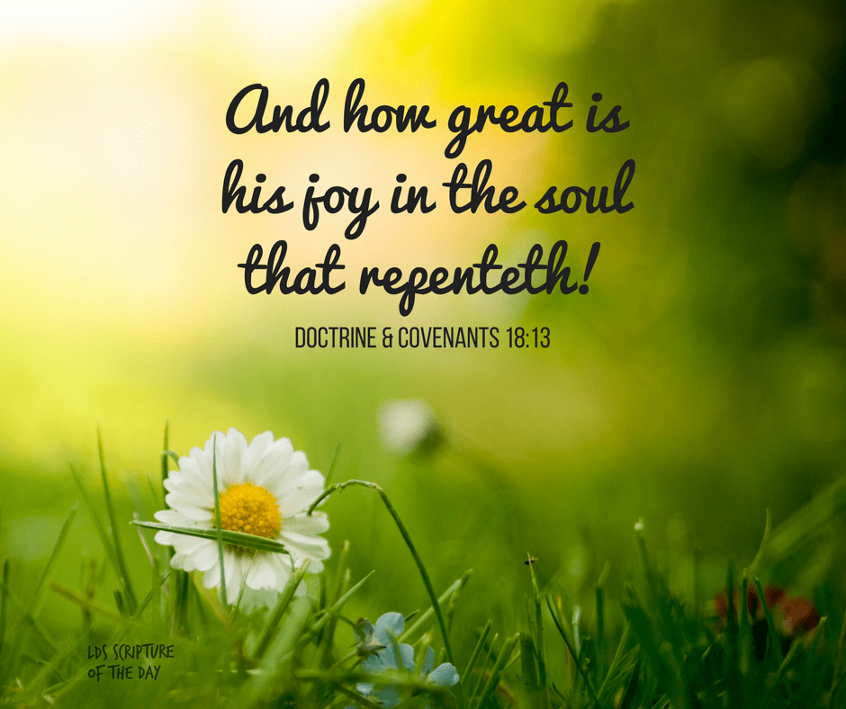 And how great is his joy in the soul that repenteth! Doctrine & Covenants 18:13