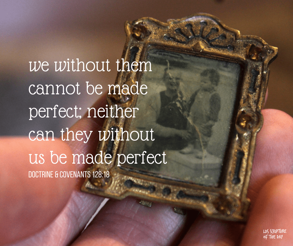 we without them cannot be made perfect; neither can they without us be made perfect - Doctrine & Covenants 128:18