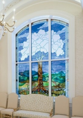 San Antonio Temple sealing room window tree of life with 12 fruits, 7 branches, 4 roots and a circular (1) knot at the center.