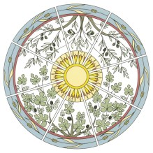 Olive tree (tree of life?), fig tree (tree of knowledge of good and evil?)and wheat.
