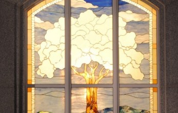 San Antonio Temple sealing room window, note the 7 branches of the tree.