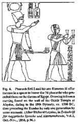 Pharaoh Seti I and his son Remeses II offer incense in a spoon.