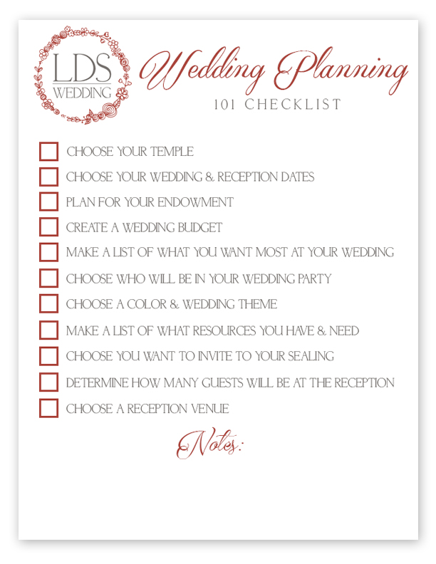 LDS Wedding Checklist | Wedding Planning 101 Checklist