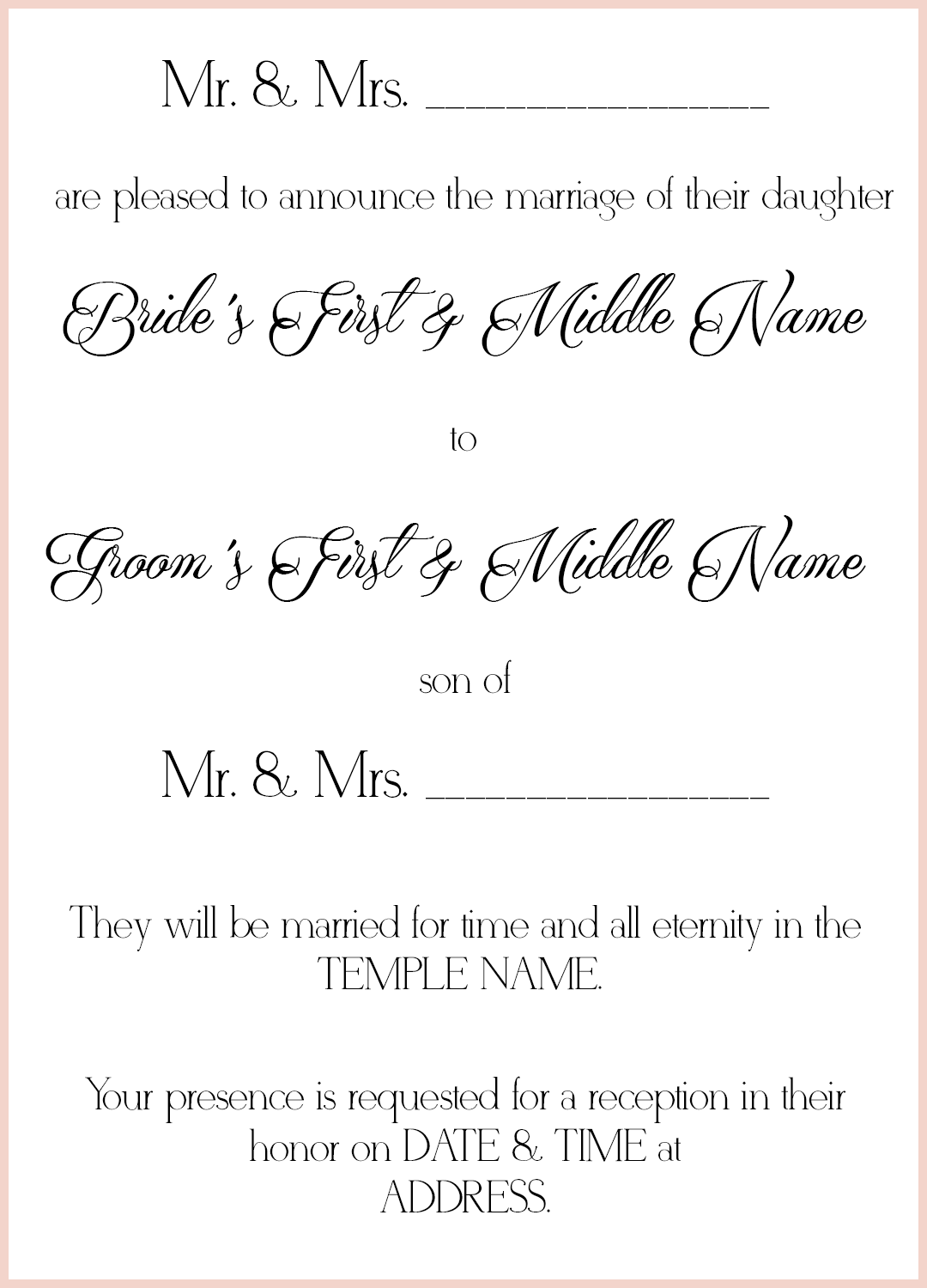 Lds wedding invitation wording sample 2 lds wedding lds wedding invitation wording sample 2 stopboris