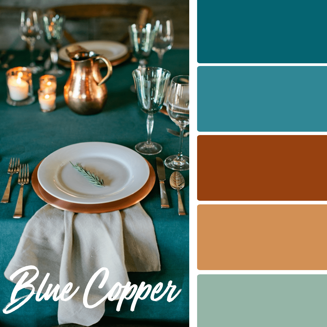 Blue Copper - 25 Fall Wedding Colors Any Bride & Groom Will Love