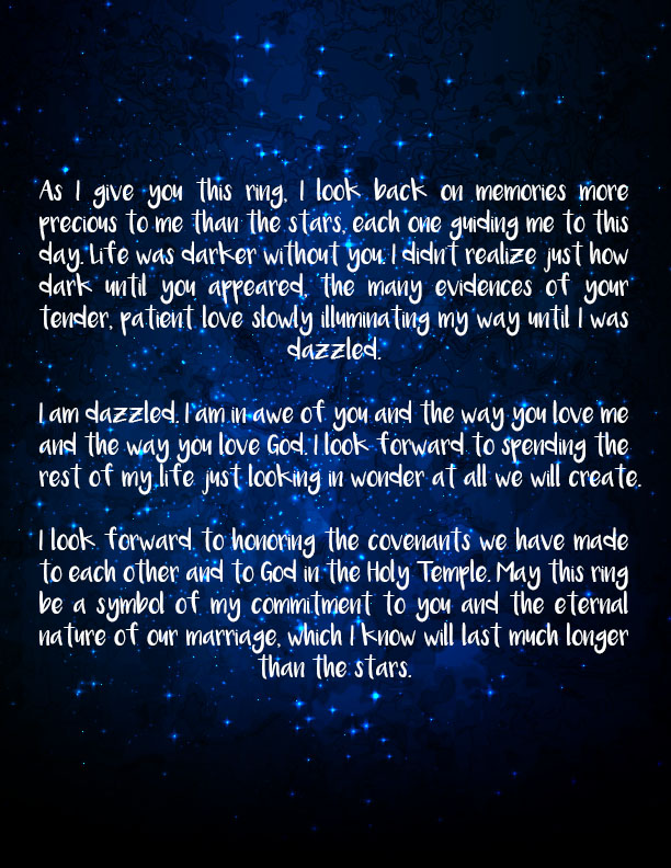 LDS Ring Ceremony Wording # 1- A Love Like the Stars