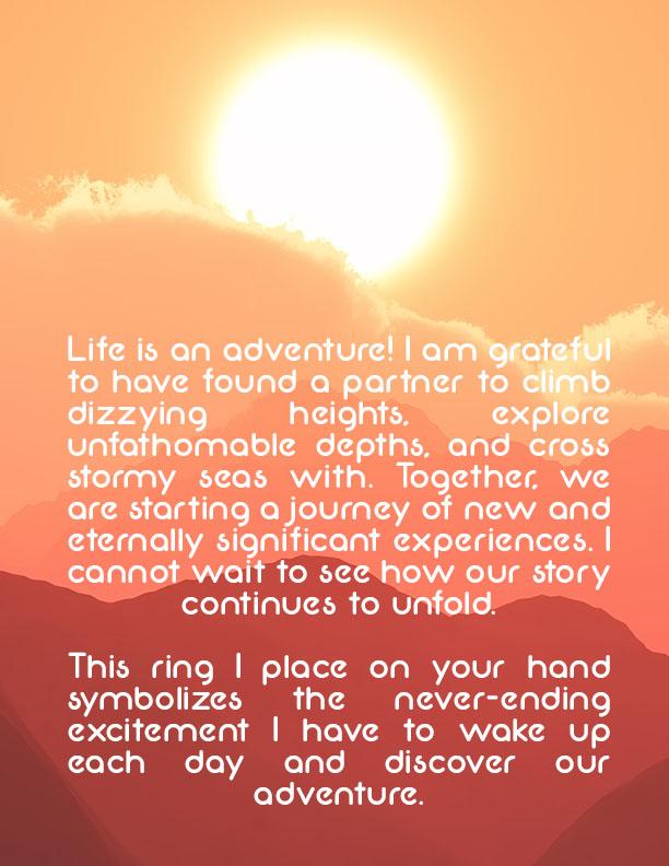 LDS Ring Ceremony Wording #3 - Adventurous Love