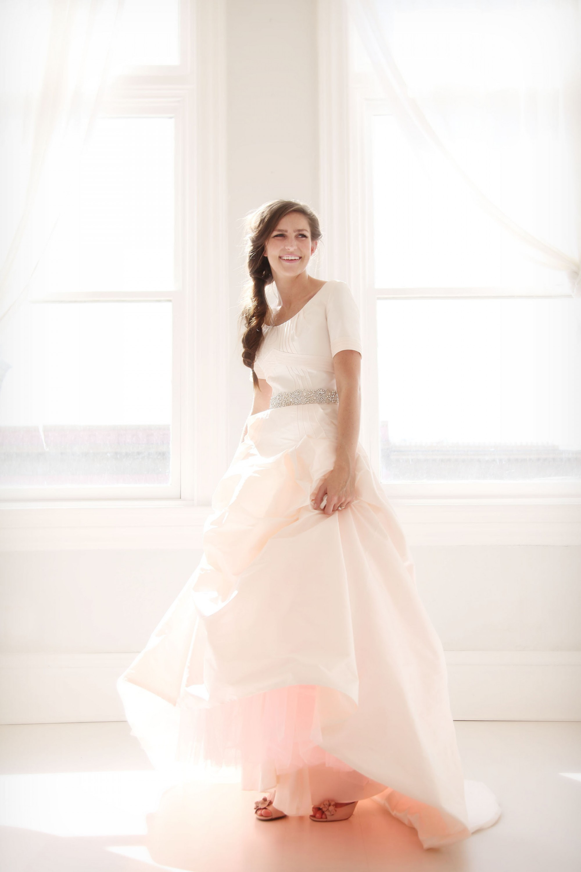 Pink Modest Wedding Dress Lds 12 Lds Wedding