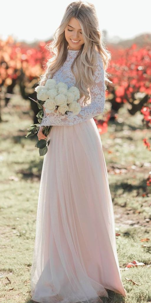 25 Pink Modest Wedding Dresses From Blush To Bright